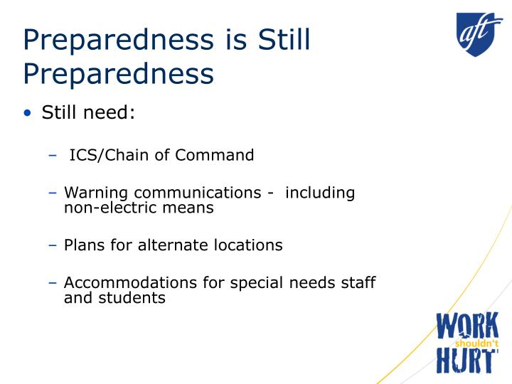 Preparedness is still preparedness