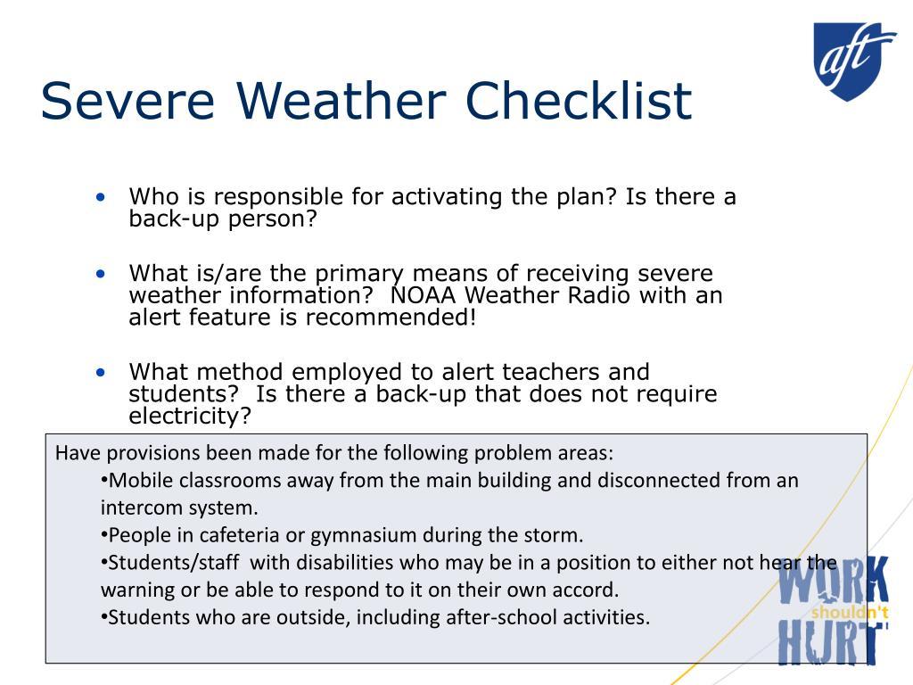 Severe Weather Checklist