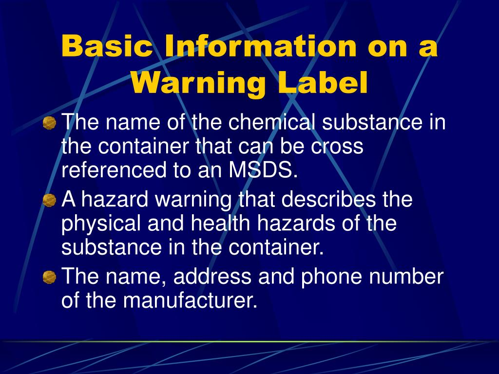 Basic Information on a Warning Label