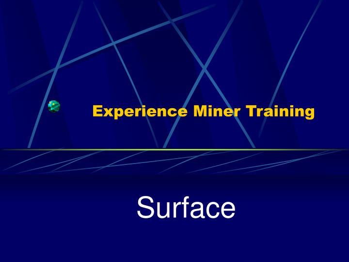 Experience miner training