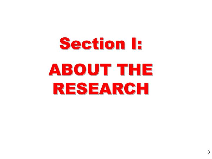 Section i about the research