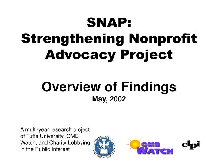 Snap strengthening nonprofit advocacy project overview of findings may 2002
