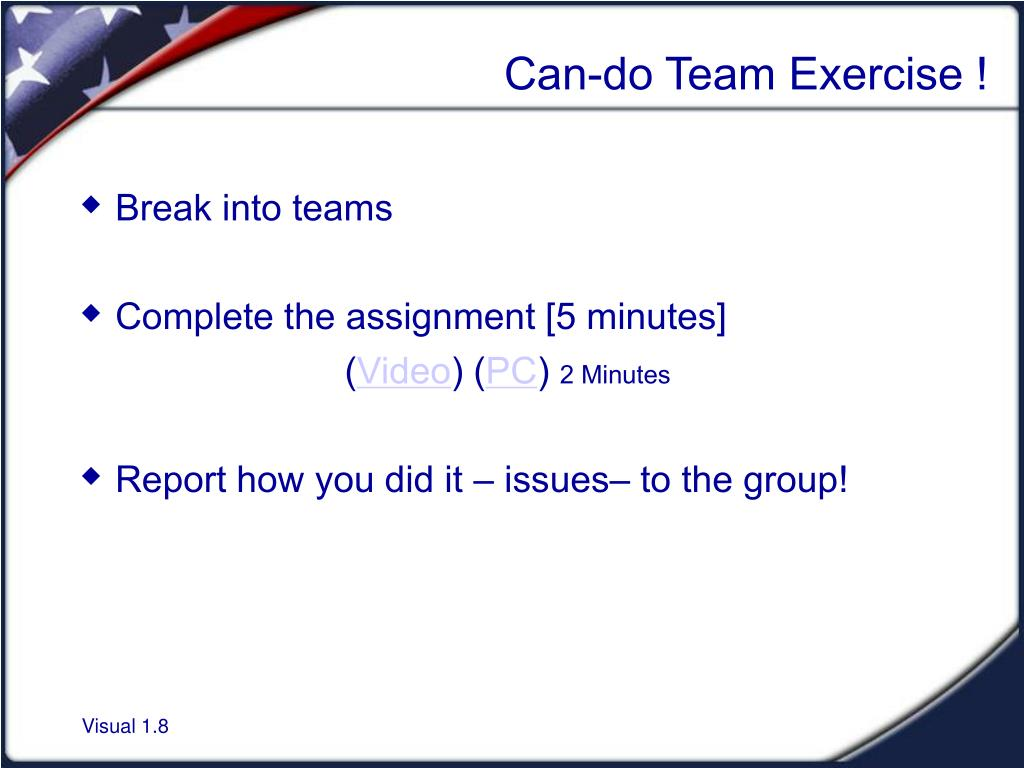 Can-do Team Exercise !