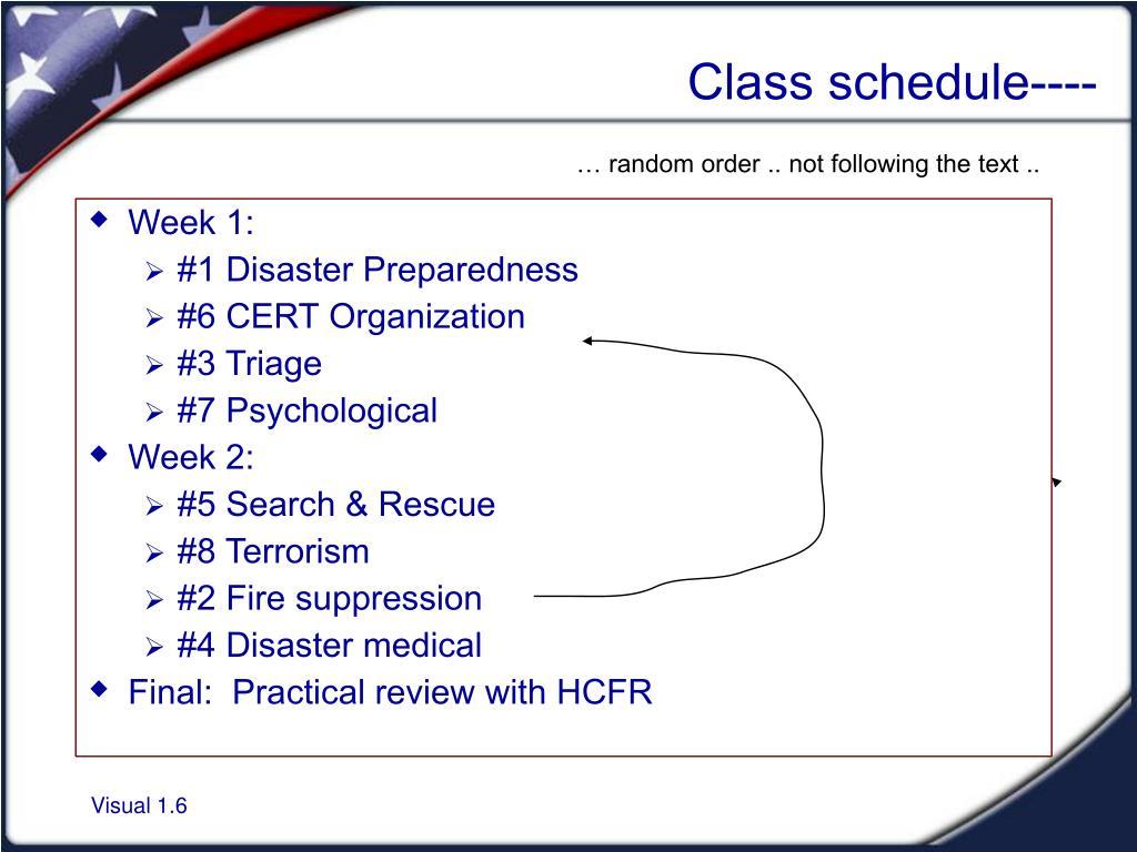 Class schedule----