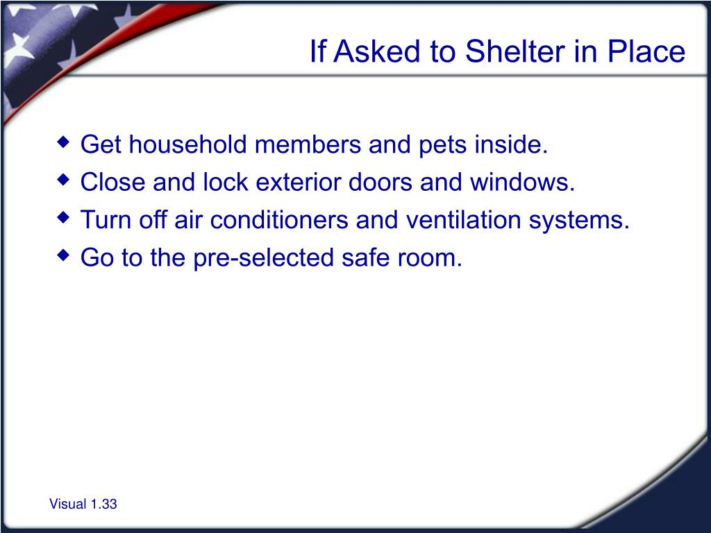 If Asked to Shelter in Place