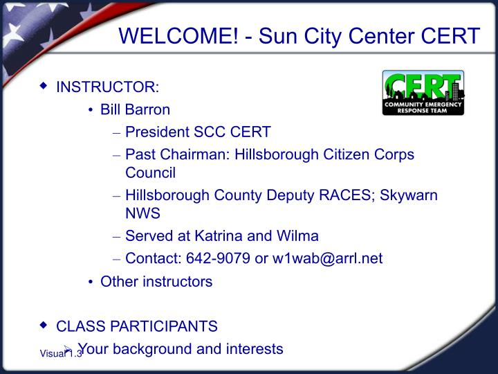 Welcome sun city center cert