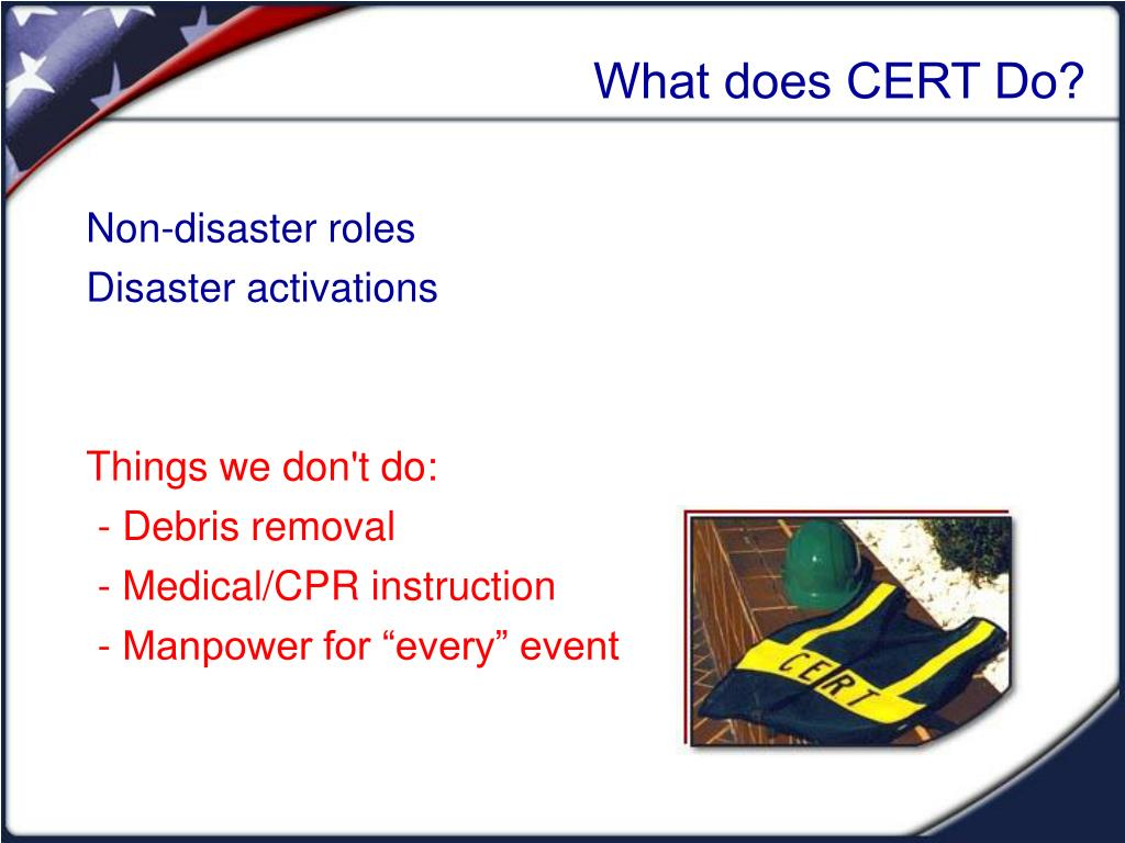 What does CERT Do?
