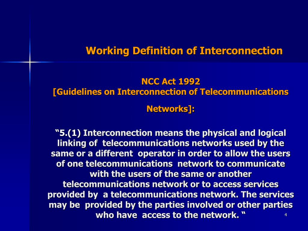 Working Definition of Interconnection