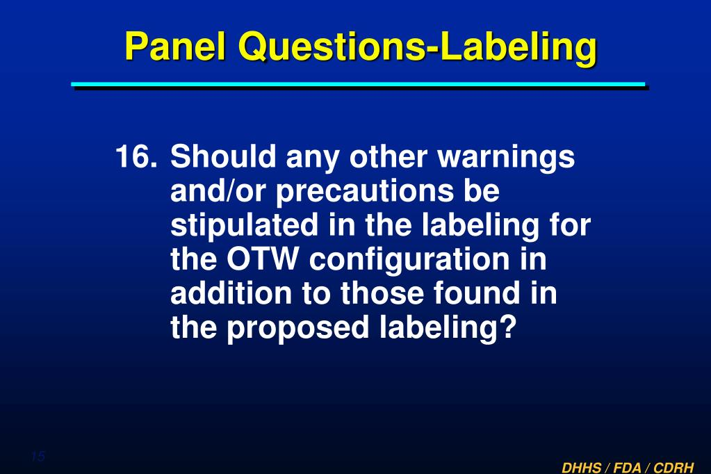 Panel Questions-Labeling