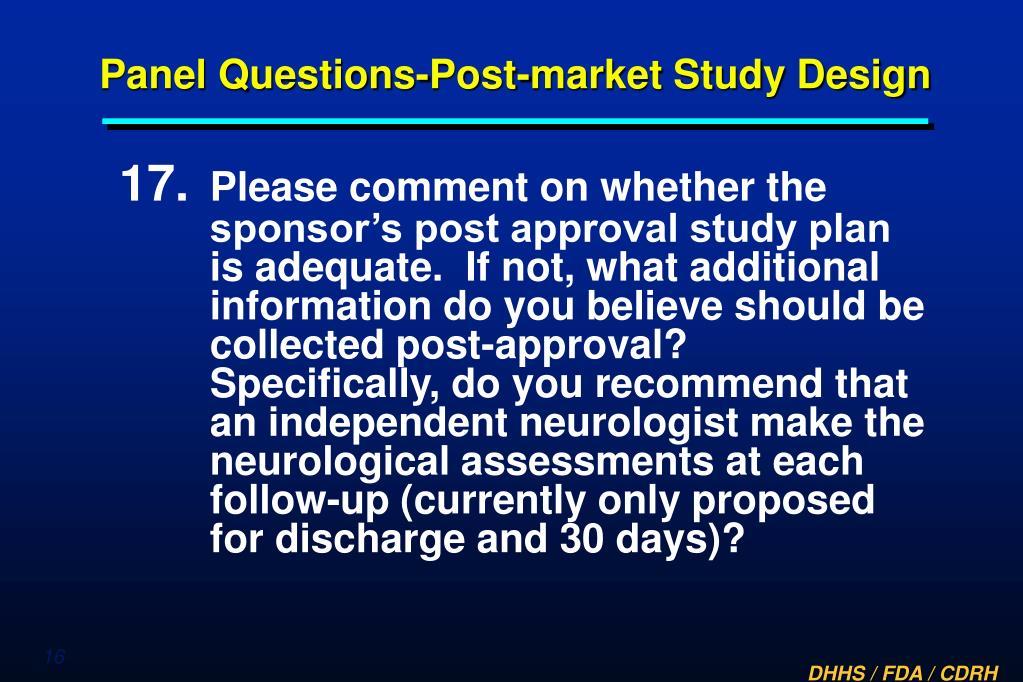 Panel Questions-Post-market Study Design
