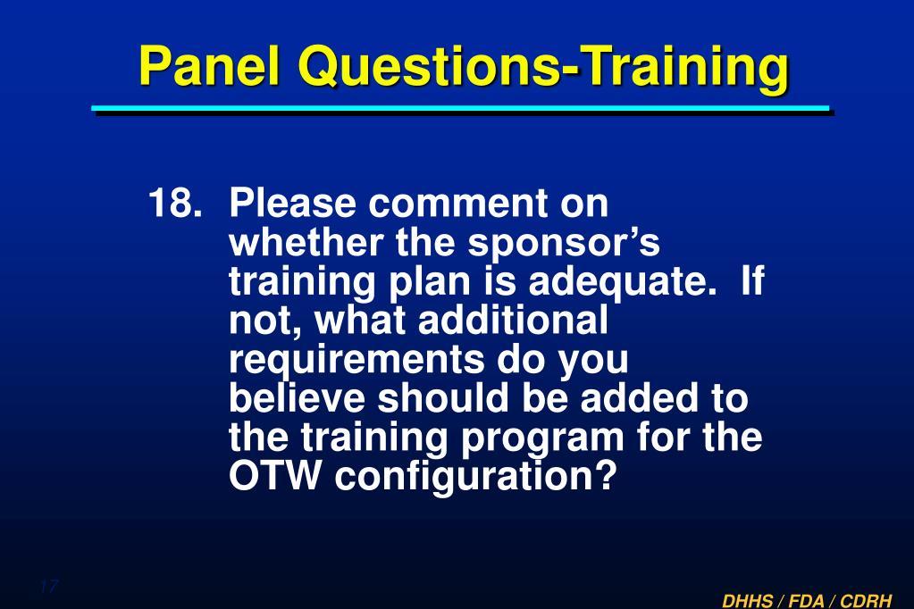Panel Questions-Training