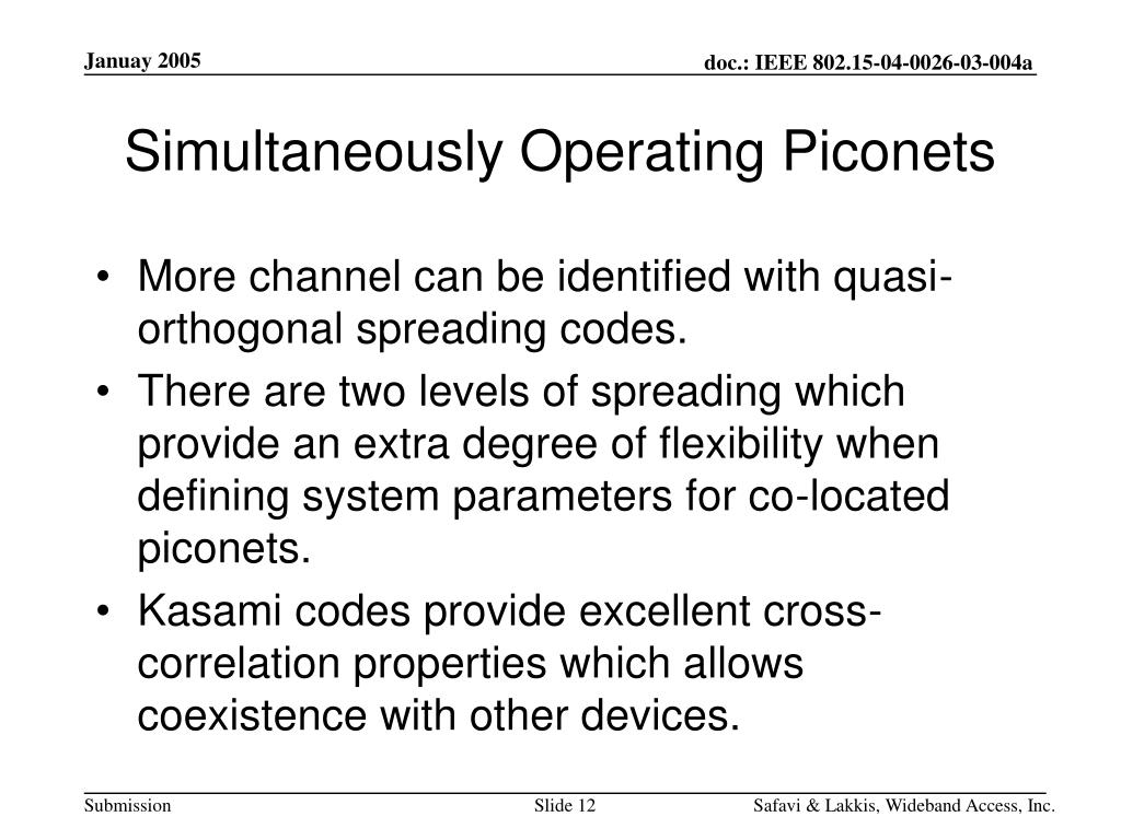 Simultaneously Operating Piconets