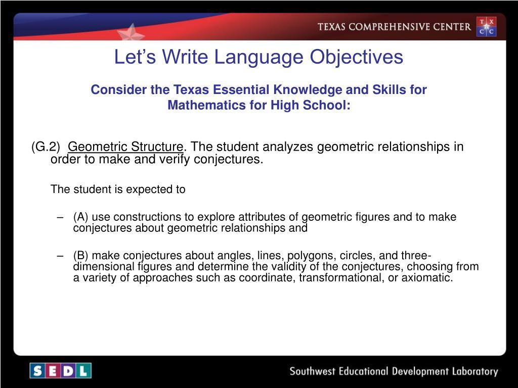 Let's Write Language Objectives