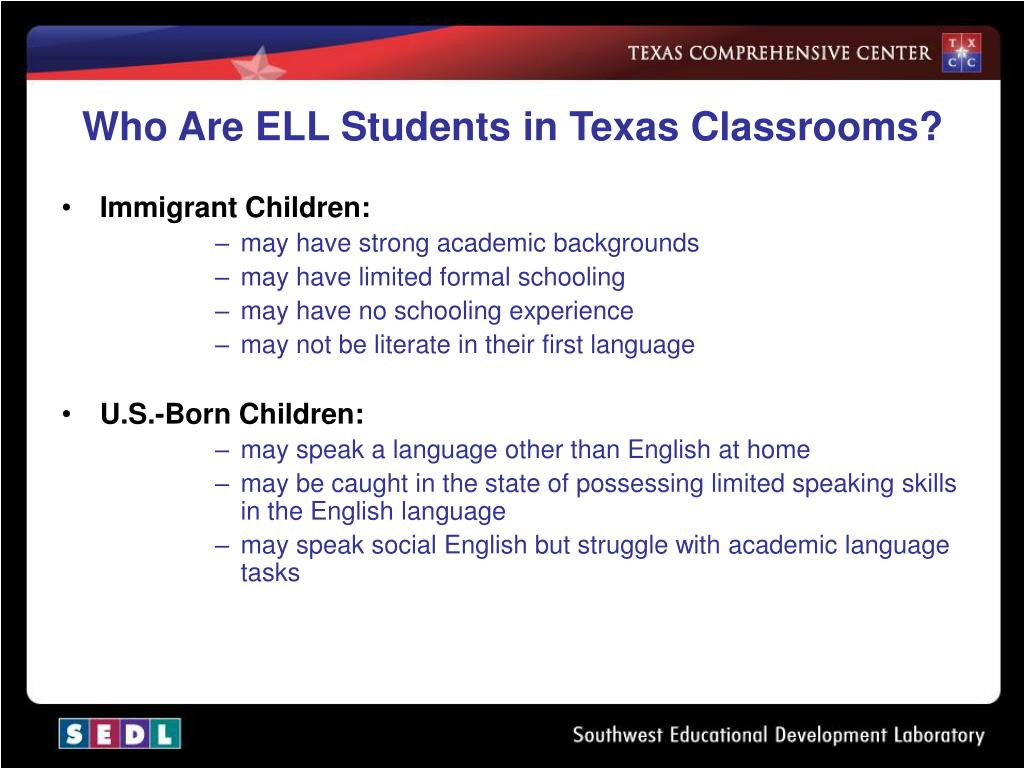 Who Are ELL Students in Texas Classrooms?