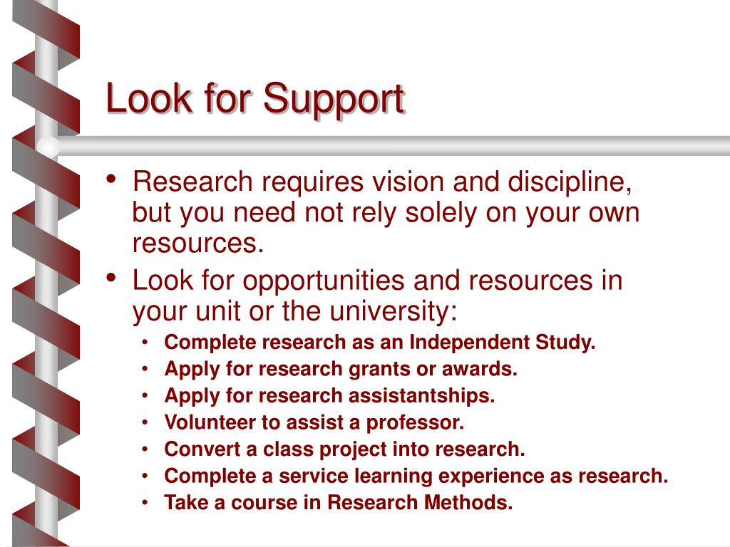 Research requires vision and discipline, but you need not rely solely on your own resources.