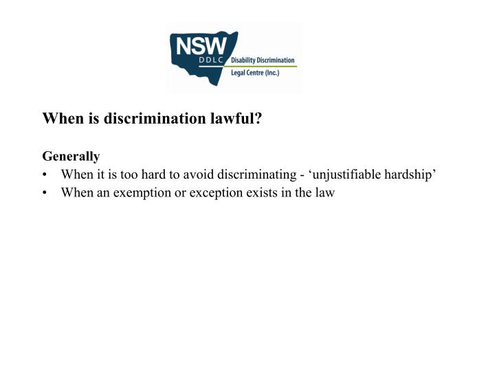 When is discrimination lawful?