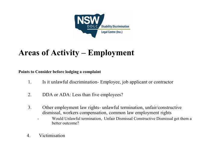 Areas of Activity – Employment