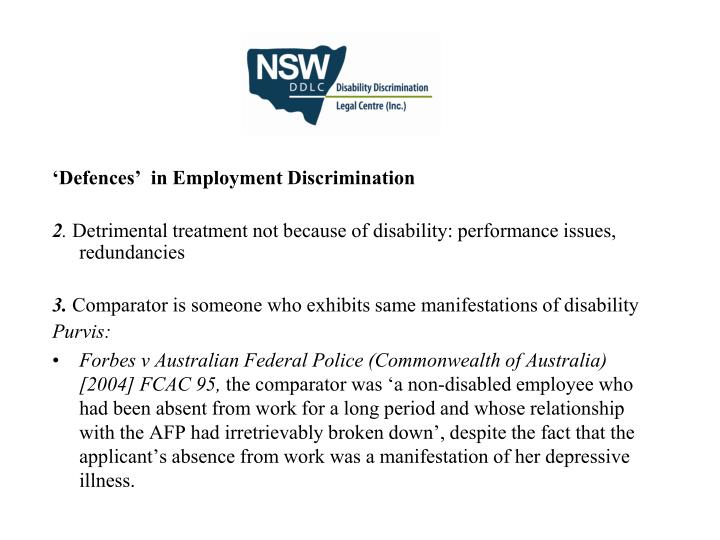 'Defences'  in Employment Discrimination
