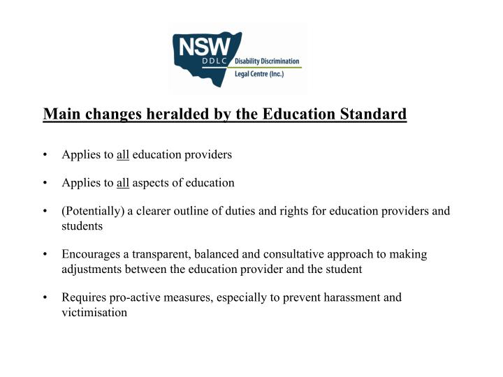 Main changes heralded by the Education Standard