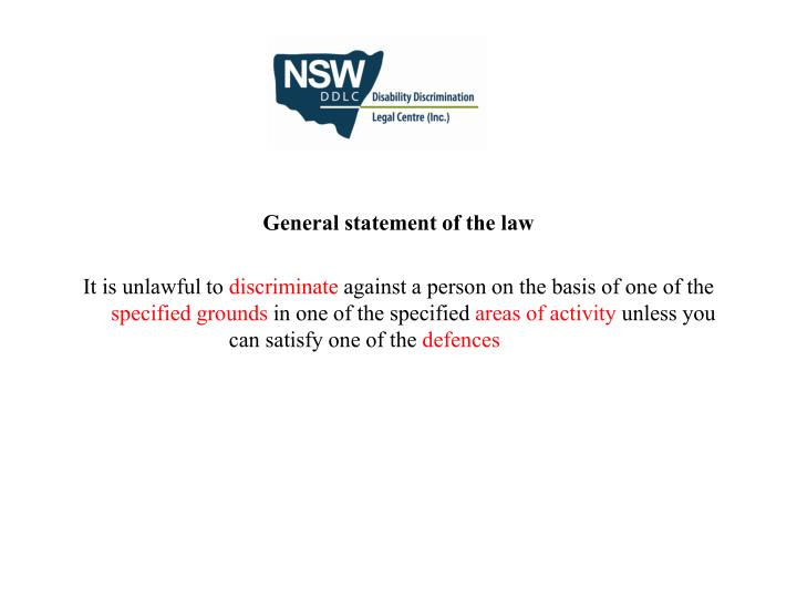 General statement of the law