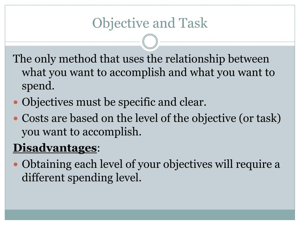 Objective and Task