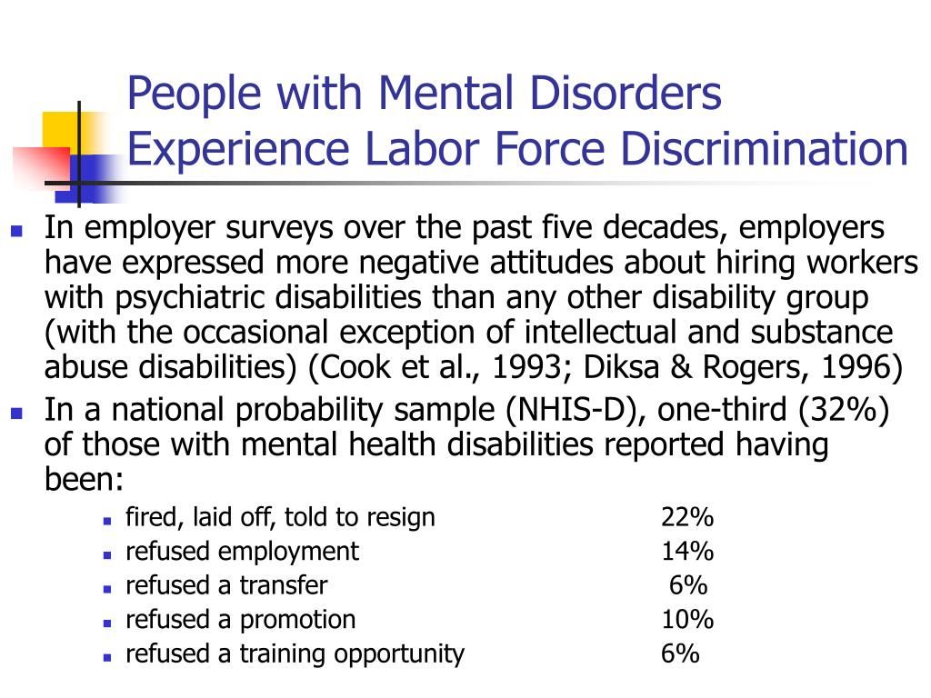 People with Mental Disorders Experience Labor Force Discrimination