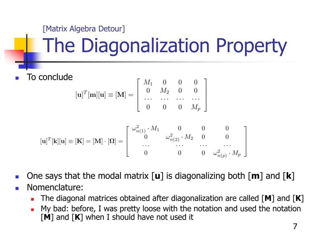 [Matrix Algebra Detour]