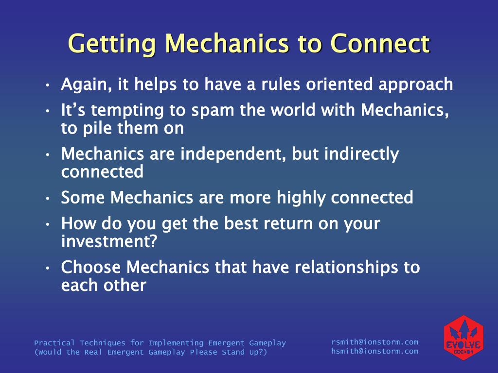 Getting Mechanics to Connect