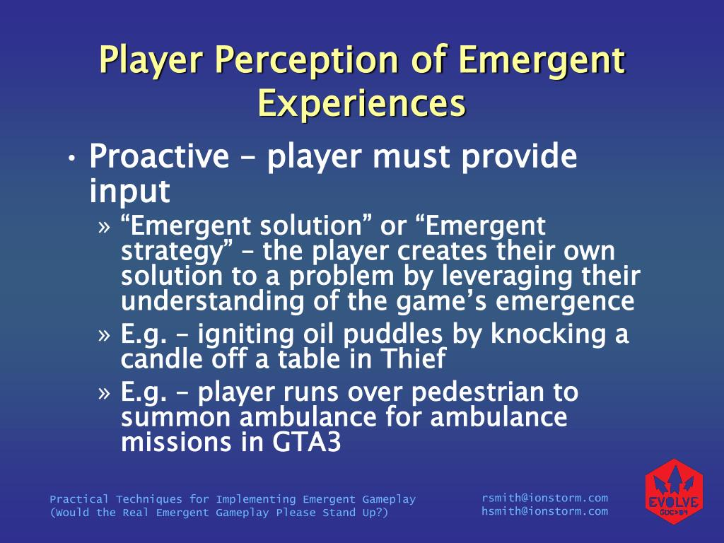 Player Perception of Emergent Experiences