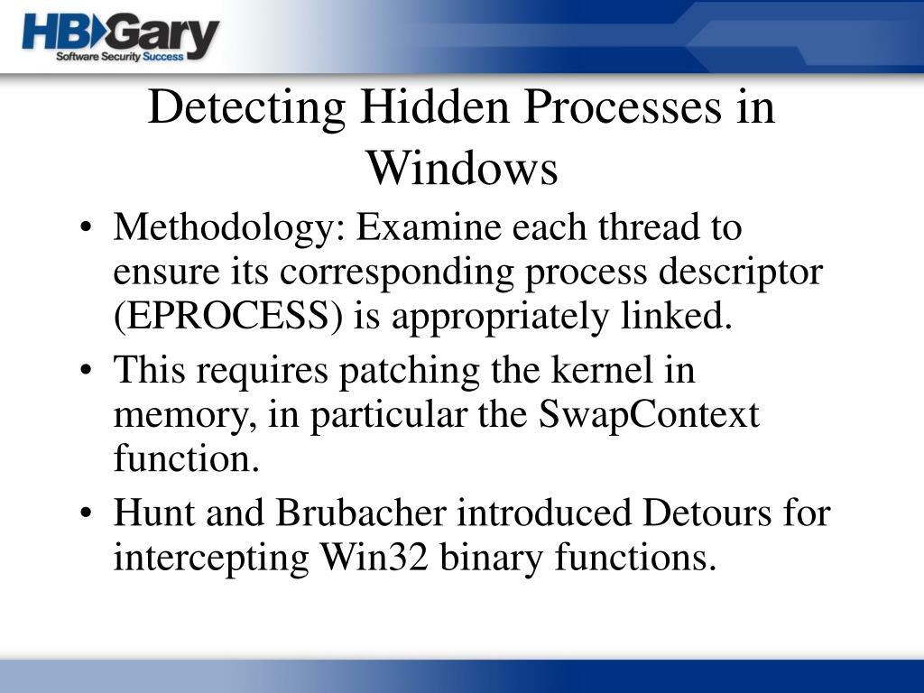 Detecting Hidden Processes in Windows
