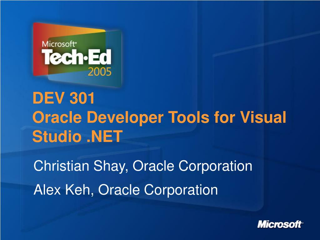 dev 301 oracle developer tools for visual studio net l.