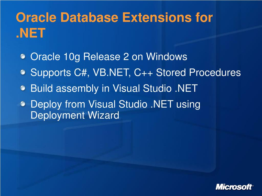 Oracle Database Extensions for .NET