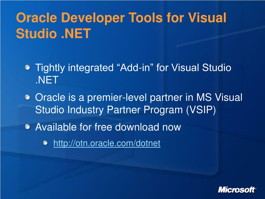 Oracle Developer Tools for Visual Studio .NET
