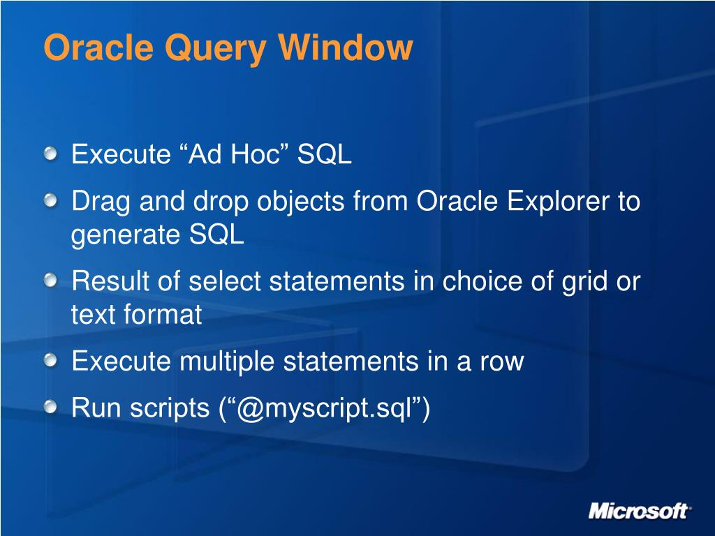 Oracle Query Window