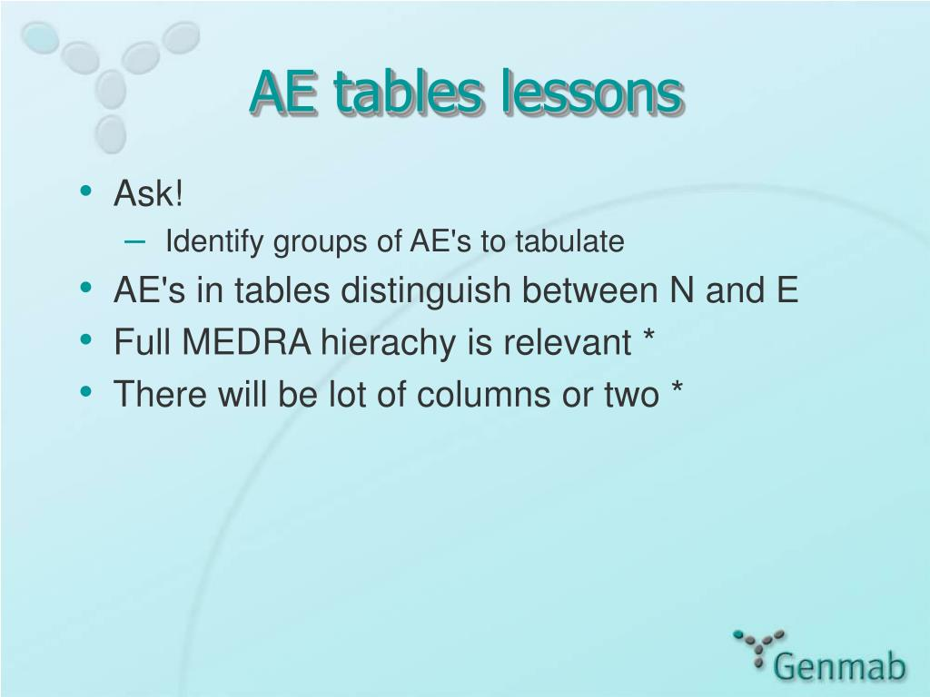 AE tables lessons