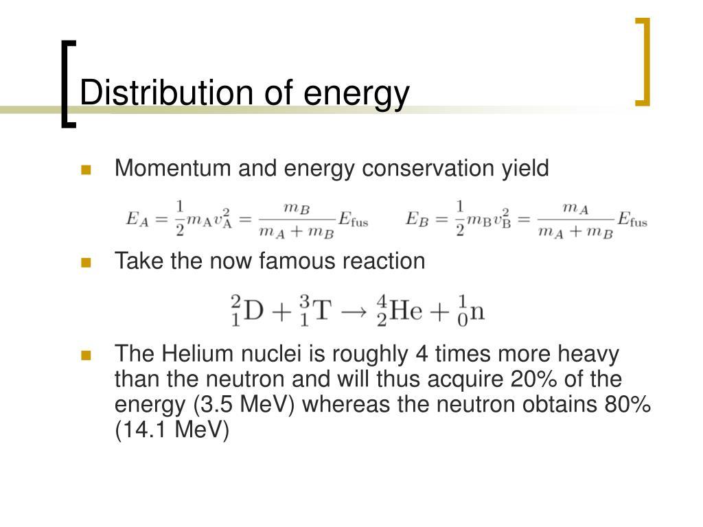Distribution of energy
