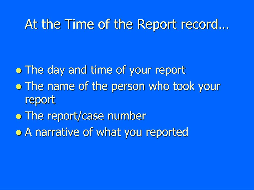 At the Time of the Report record…