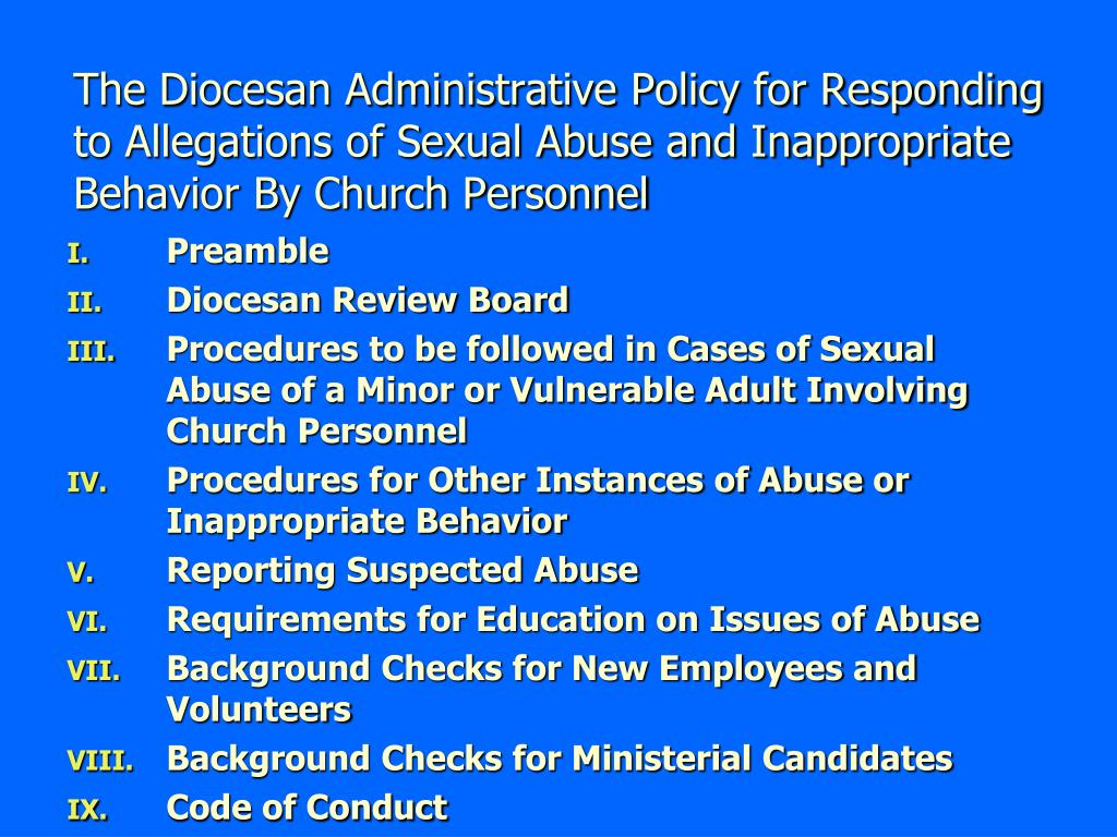The Diocesan Administrative Policy for Responding to Allegations of Sexual Abuse and Inappropriate Behavior By Church Personnel