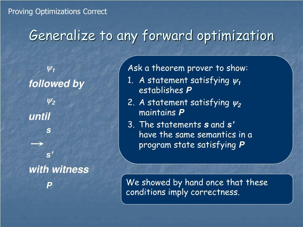 Proving Optimizations Correct
