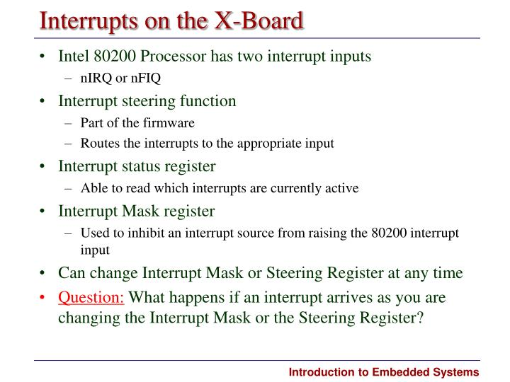 Interrupts on the X-Board
