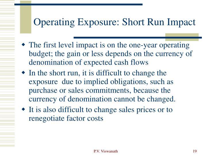 Operating Exposure: Short Run Impact