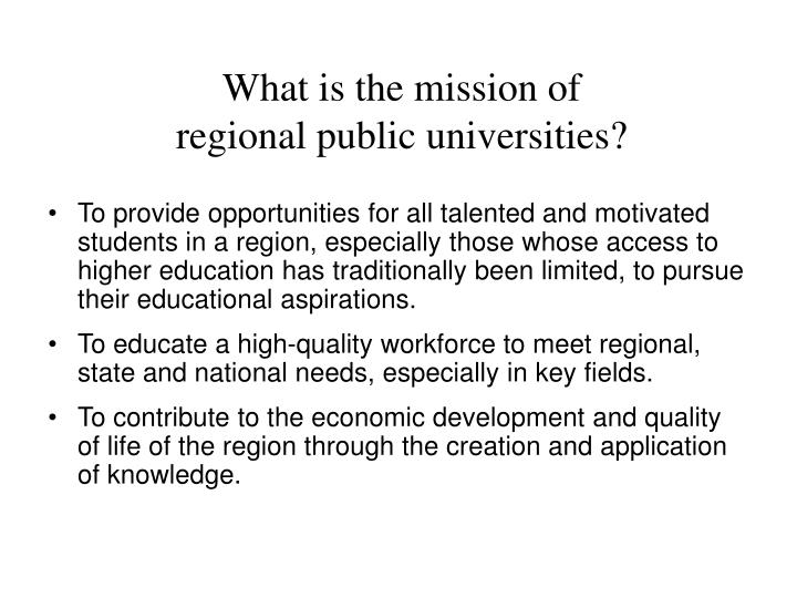What is the mission of regional public universities