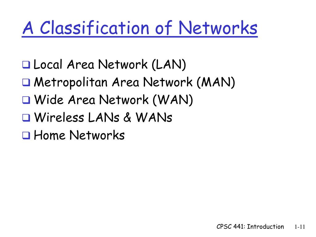 A Classification of Networks