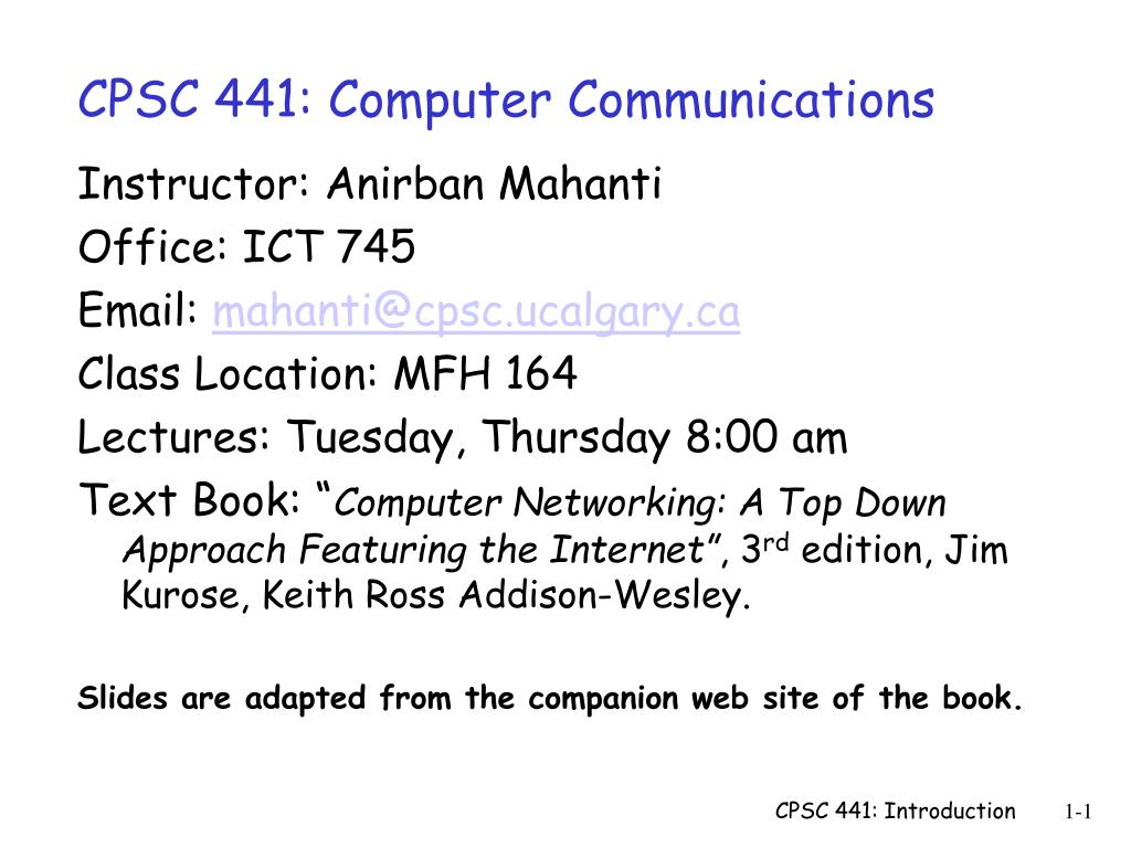 cpsc 441 computer communications l.