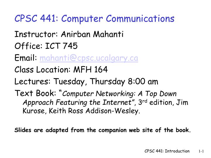 Cpsc 441 computer communications