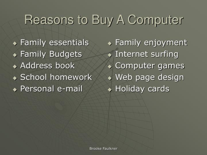 Reasons to buy a computer