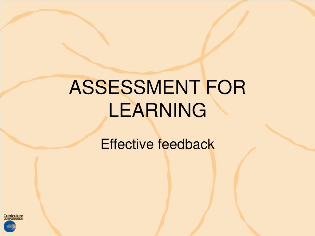 assessment for learning l.