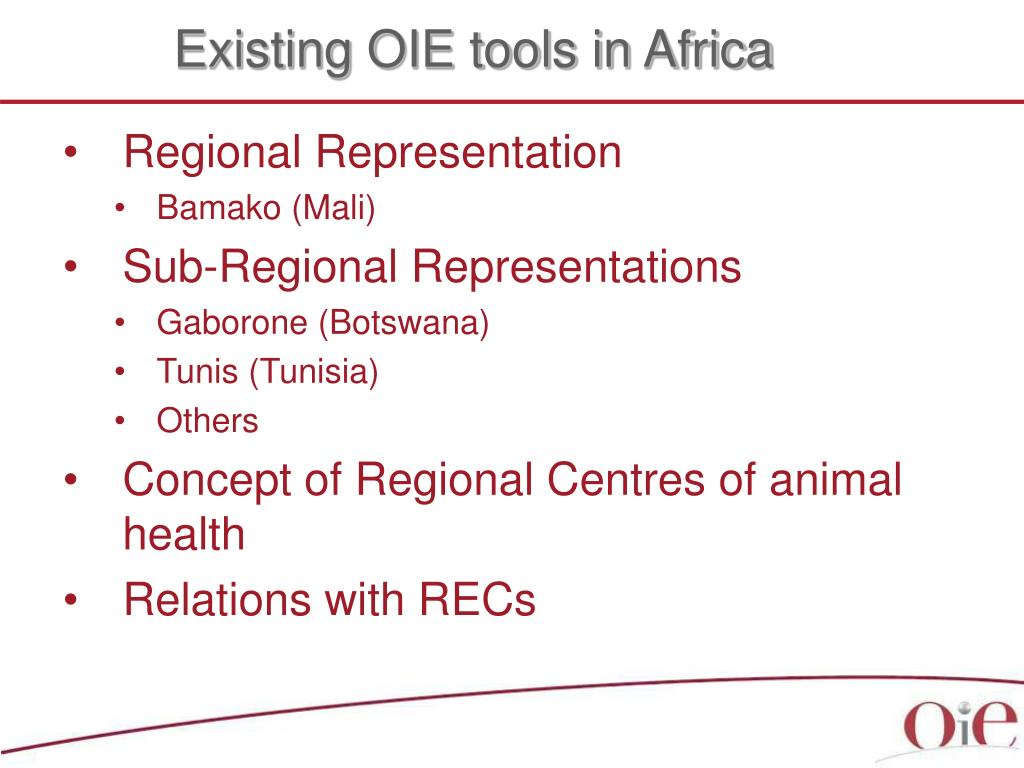 Existing OIE tools in Africa
