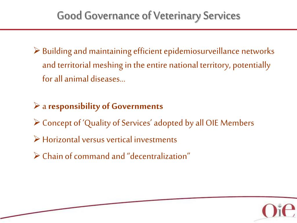 Good Governance of Veterinary Services