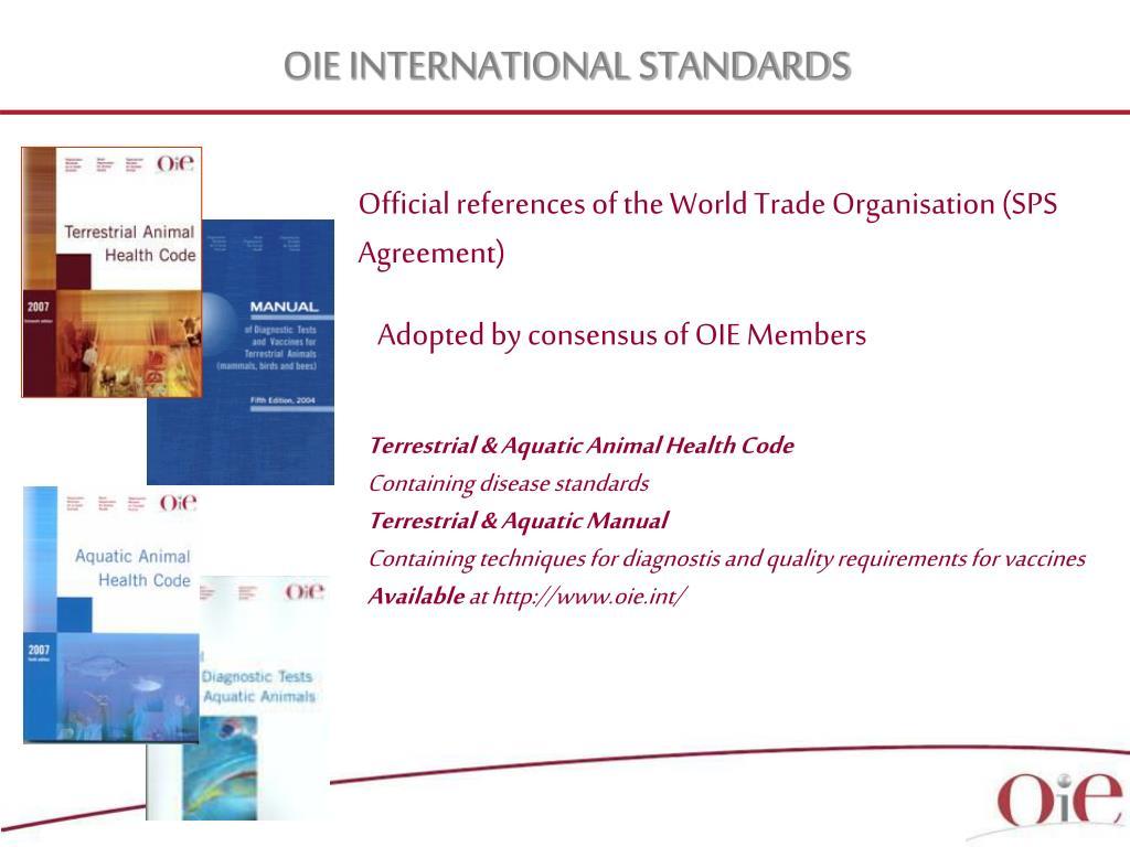 OIE INTERNATIONAL STANDARDS